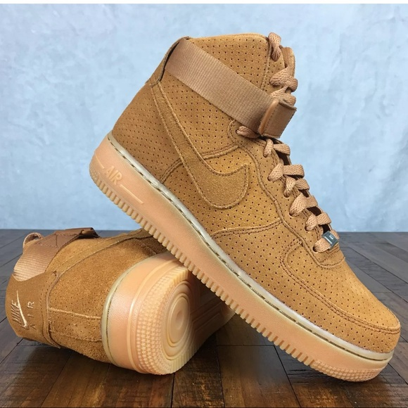 sports shoes be817 36ed1 NEW Nike Air Force 1 High Suede Tawny Sneakers (B).  M 5b0c41f936b9de79782db58a